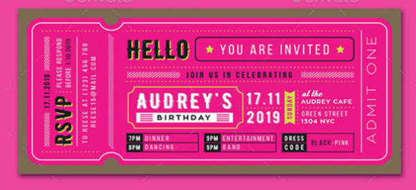 Birthday Invitation Ticket Card