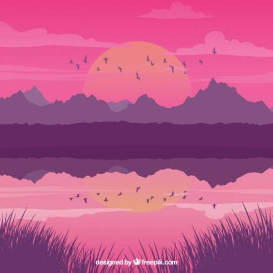 landscape_with_lake_at_sunset_and_birds