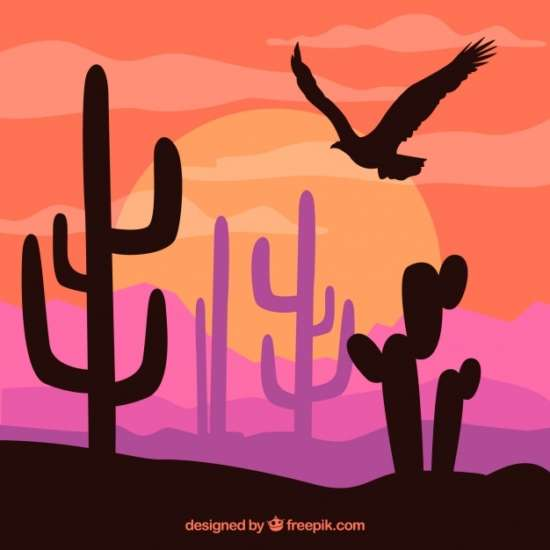 colored_western_background_with_vegetation_and_eagle_silhouette