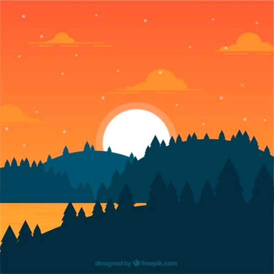 flat_landscape_of_forest_at_sunset