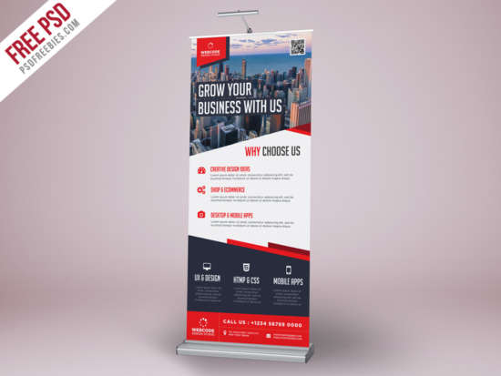 corporate advertisement rollup banner psd template