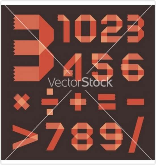 font_from_reddish_scotch_tape_arabic_numerals_vector