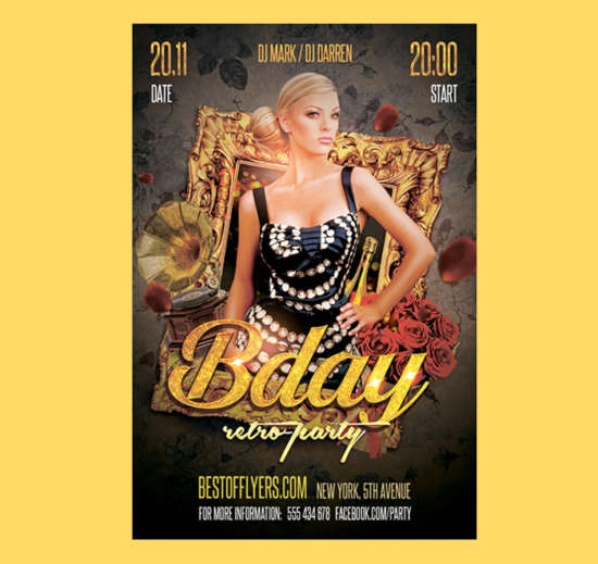 free_retro_birthday_party_flyer