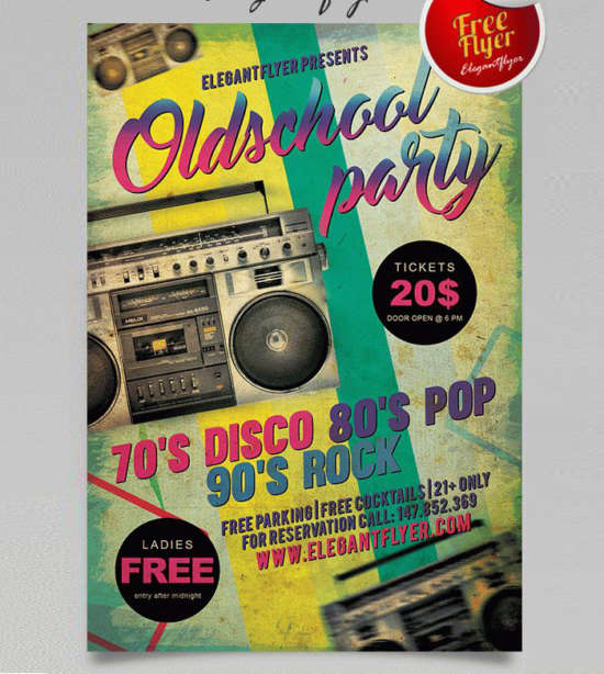 Free Retro  Vintage Party Flyers  Xdesigns