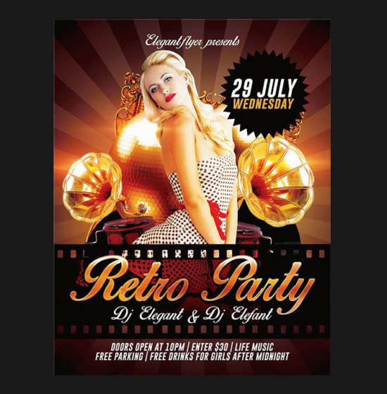 sexy_retro_party_free_psd_flyer