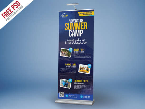 adventure summer camp rollup banner template