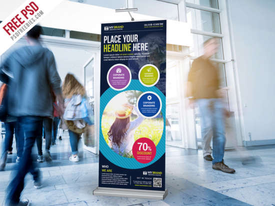 multipurpose advertising rollup banner psd