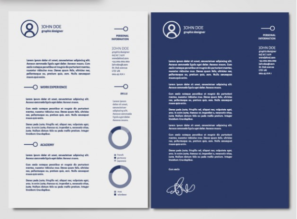 Curriculum vitae and cover letter template Free Vector