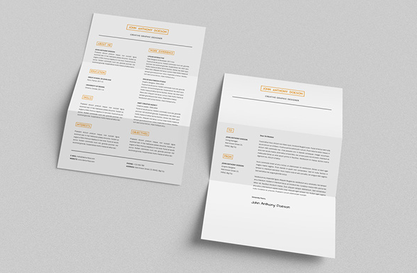 A4 FREE Resume + Cover Letter by Demorfoza