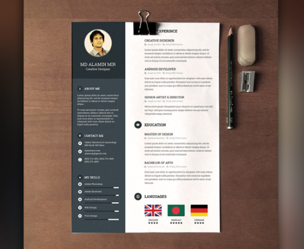 Designer Resume with Cover Letter Free PSD