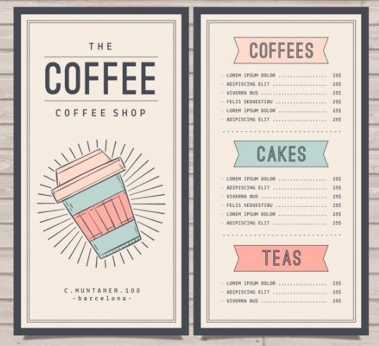 Retro cafe menu template