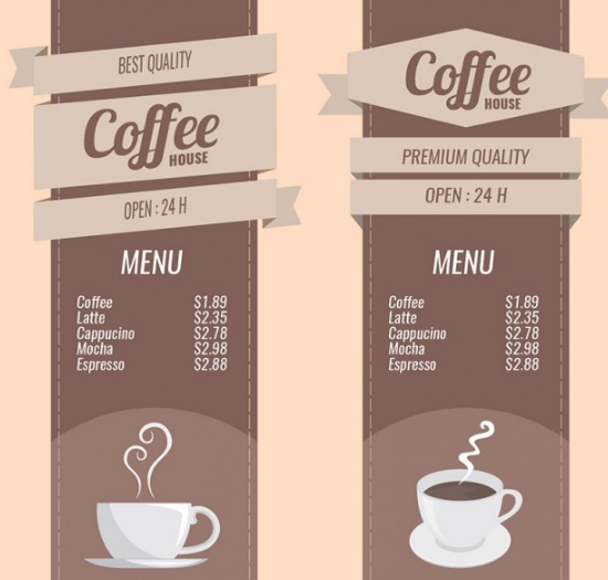 Coffee menus set