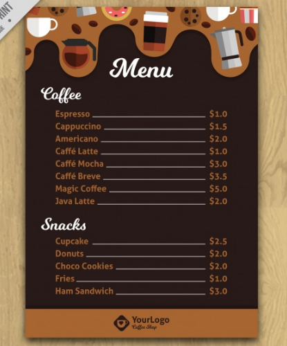 Print-Ready Brown Cafe menu template