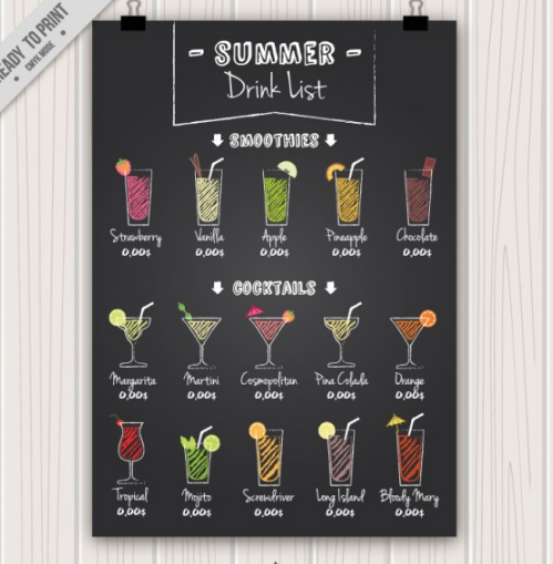 Hand drawn cocktails poster