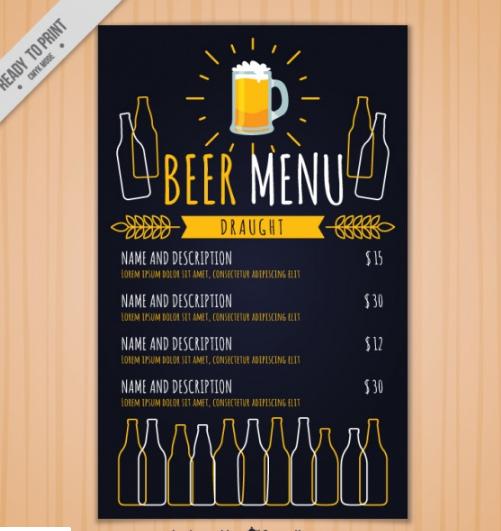 Vintage brewery menu