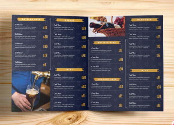 Beer and Wine Menu Bi-Fold Brochure