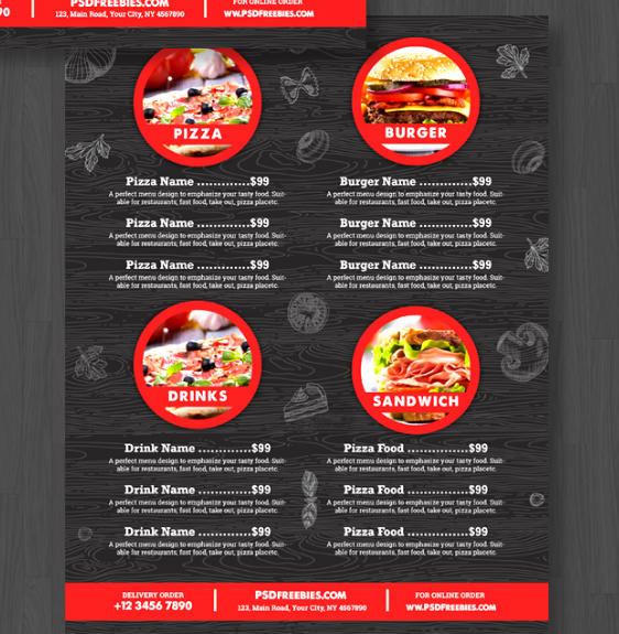 Food Menu Flyer Free PSD