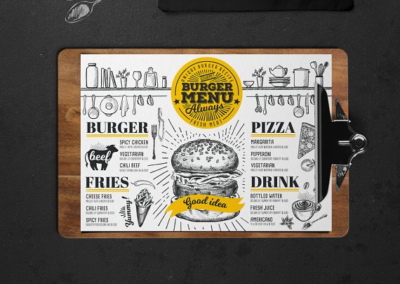 gorgeous Burger Food Menu Template