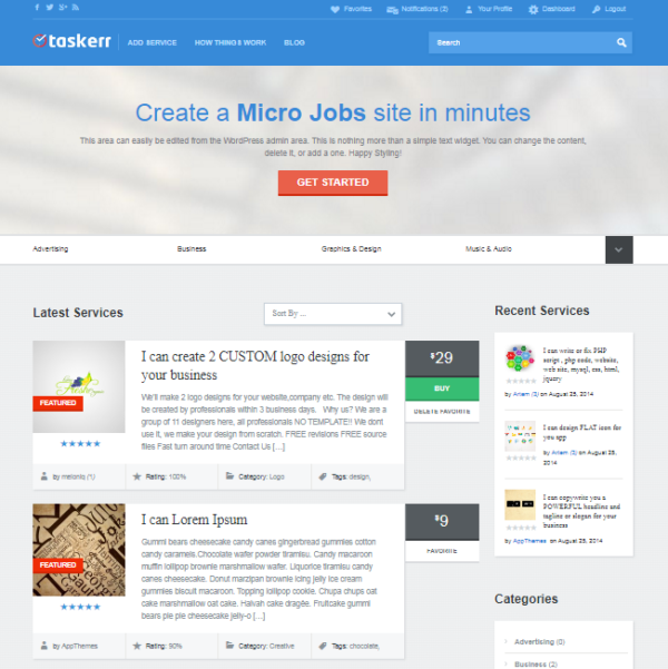Taskerr Fiverr WordPress Theme