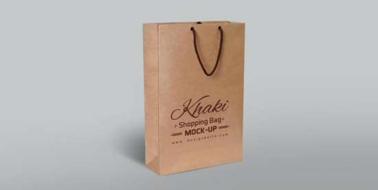 Free Khaki Shopping Bag Mockup PSD