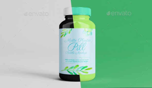 Plastic Pill Bottle Mockup With smart objects