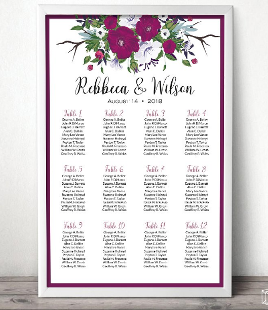 Printable Seating Chart For Wedding Reception: 20 Beautiful Wedding Seating Chart Ideas + Templates