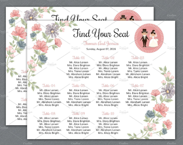 20 beautiful wedding seating chart ideas templates for Bridal shower seating chart template