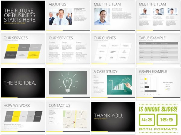 Universal Pitch Deck Three PowerPoint
