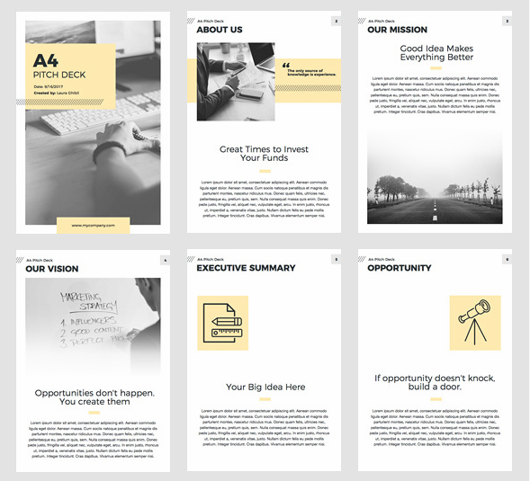 A4 Pitch Deck Vertical Keynote Template
