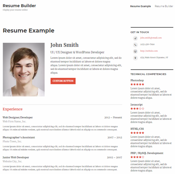 Resume Template Builder (Plugin)