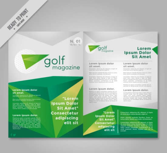 green_polygonal_magazine_about_golf