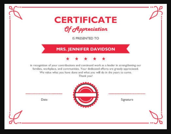 Free Templates For Certificates Of Appreciation