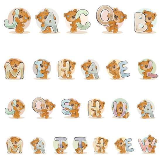 names_for_boys_jacob_mihael_joshua_matthew_made_decorative_letters_with_teddy_bears