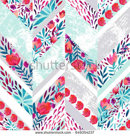 chevron_seamless_pattern_with_watercolor_flowers
