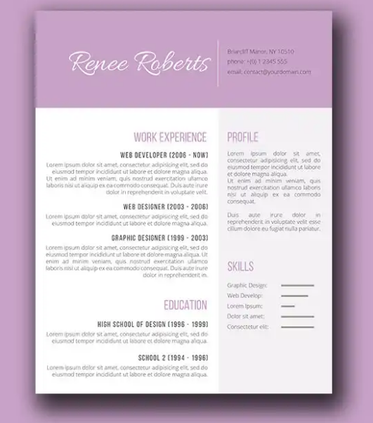 lilac_beauty_purple_feminine_resume
