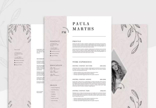 floral_resume_cv_cover_letter