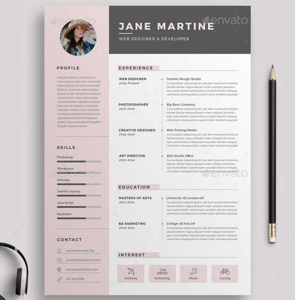15  beautiful feminine resume templates  psd  u0026 word