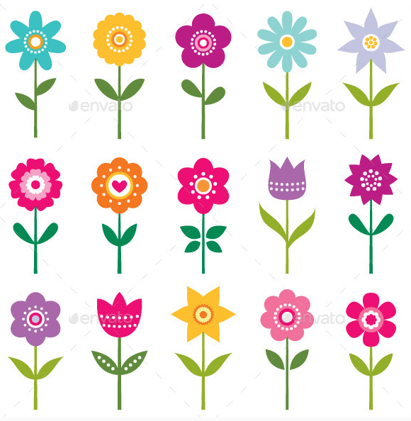 isolated_vector_flowers_set_vector_eps_jpeg