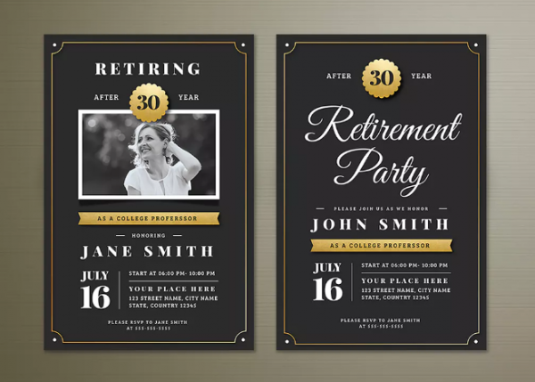 15 retirement party invitation flyer templates xdesigns for Retirement announcement flyer template