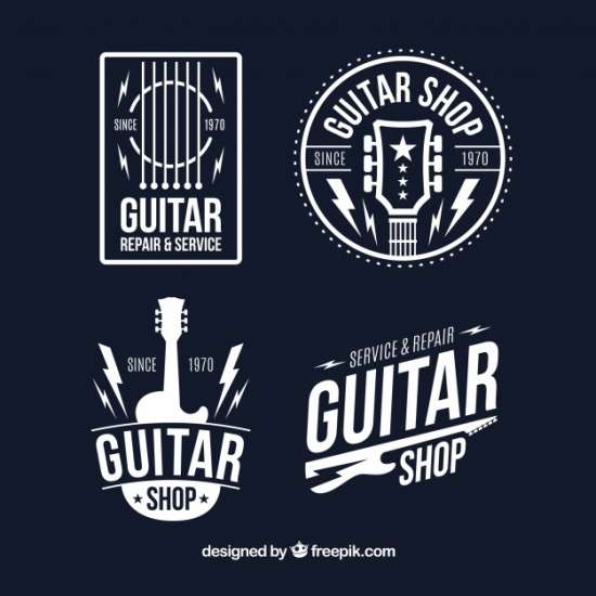 set_of_four_guitar_logos_in_flat_design