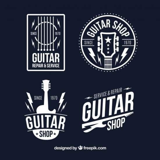 set_of_four_guitar_logos_in_flat_design