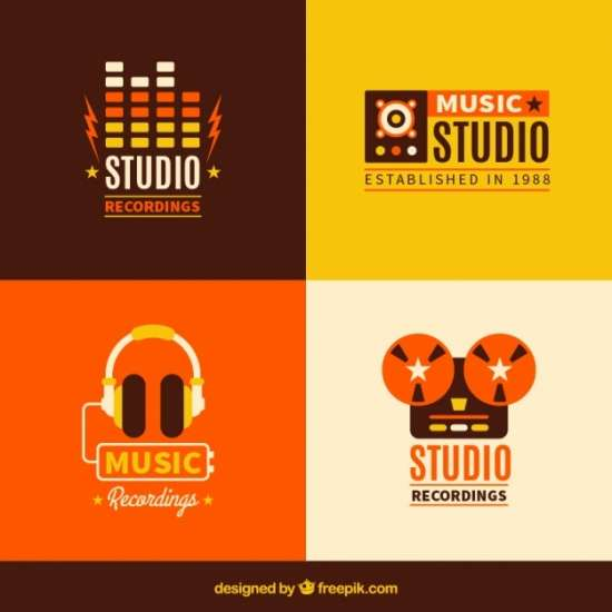 several_music_logotypes_in_vintage_style
