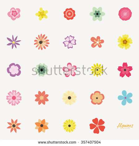 abstract_cute_flowers_on_a_white_background