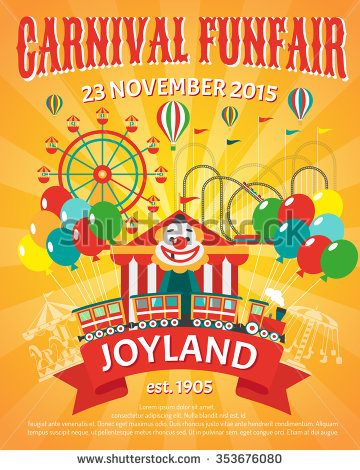 carnival_funfair_promo_poster_with_clown_and_party_balloons_vector_illustration
