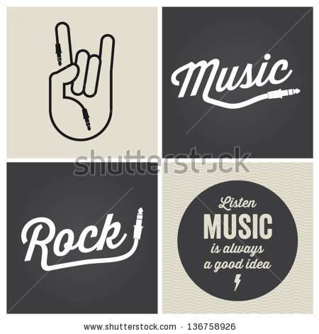 music_design_elements_with_font_type_and_illustration_vector