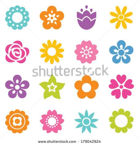 set_of_flat_icon_flower_icons