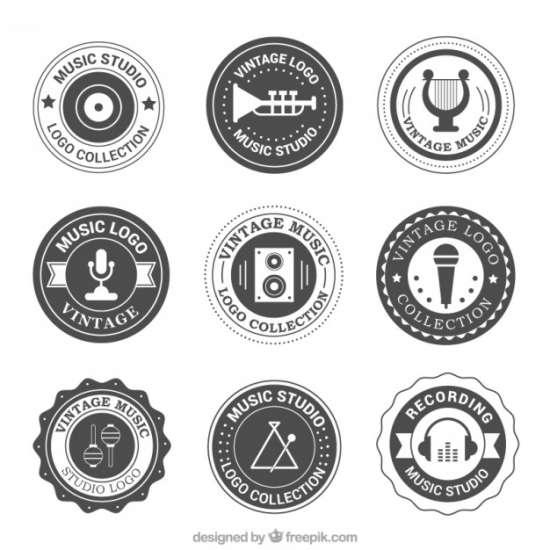 vintage_rounded_logos_set_of_music_studio