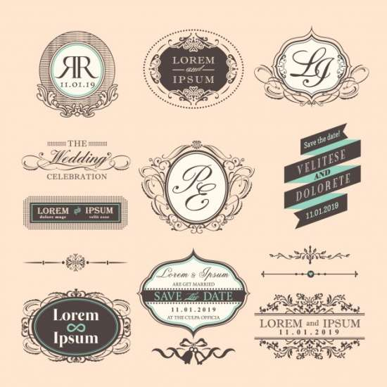 wedding_badges_with_ornaments_vintage_style