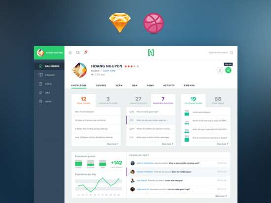 flat_course_admin_dashboard_skectch_template