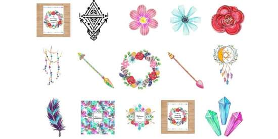 free_watercolor_bohemian_elements_and_illustrations_ai_eps_jpg_png